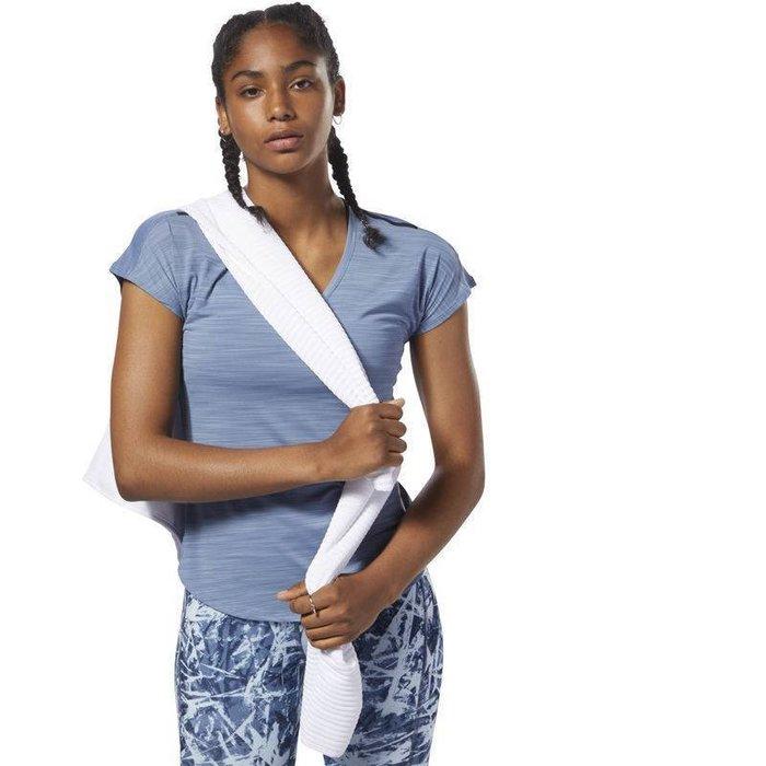 Reebok 全新 藍色 標黑肩線 機能 快乾 排汗 運動 休閒 健身 訓練 重訓 上衣 短袖上衣 T恤 D94175