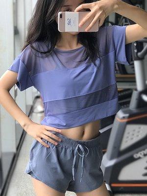 運動上衣 網紗運動短袖女健身速乾T恤寬...