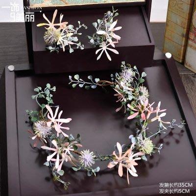 頭飾 髮飾 首飾 韓式新娘飾品仿真花朵發飾頭花仙美影樓發飾婚紗森系花環結婚飾品