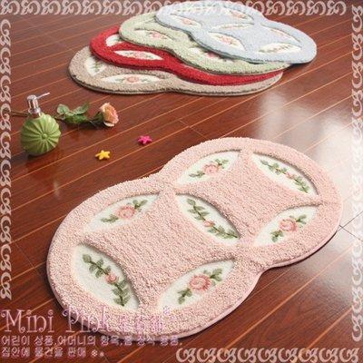 Mini Pink 宅貨舖--田園鄉村風 浪漫玫瑰花印圖 腳踏墊 門墊 5色 銅錢45*75cm【D171-17】訂製款