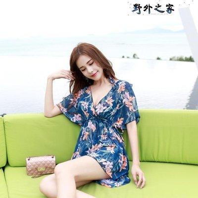 水母衣 游泳衣女三件套韓國溫泉小香風分體遮肚性感鋼托聚攏保守比基尼
