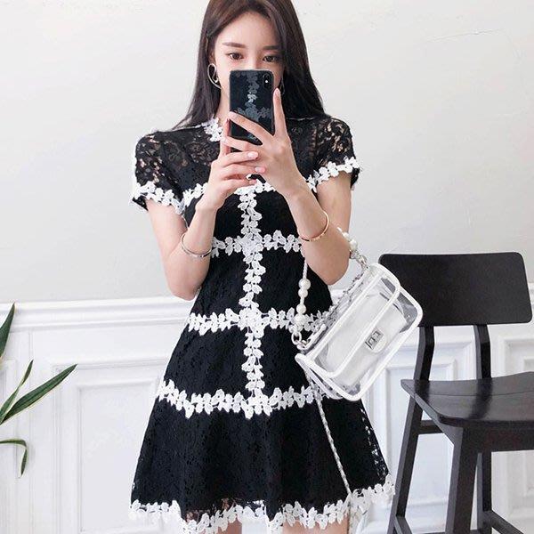 【Sweet 韓國連線】韓版短袖氣質鏤空蕾絲花邊連身裙洋裝兩件套-白、黑色-S~XL 6192【現貨+預購】
