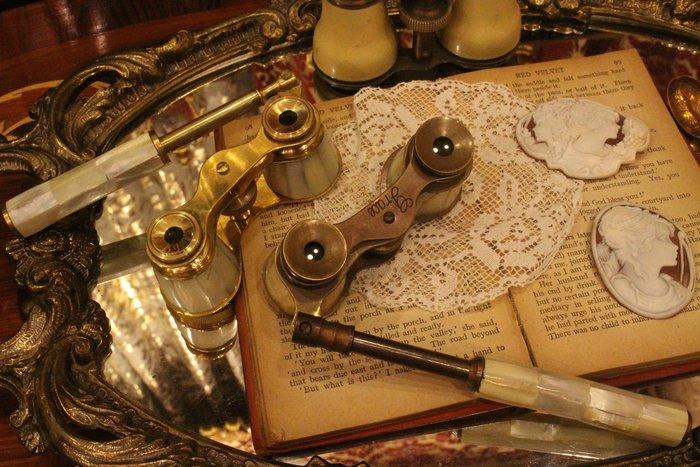 【家與收藏】賠售特價稀有珍藏歐洲古董法國手工母貝鑲嵌歌劇長柄式望遠鏡2