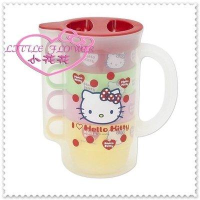 小公主日本精品 Hello Kitty冷水壺杯組 水壺附杯 水杯 茶杯 四入杯壺組 大臉紅點點11007302