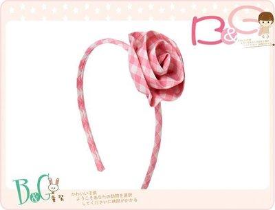 【B& G童裝】正品美國進口GYMBOREE Gingham Rosette Headband粉紅格子立體花朵髮挎