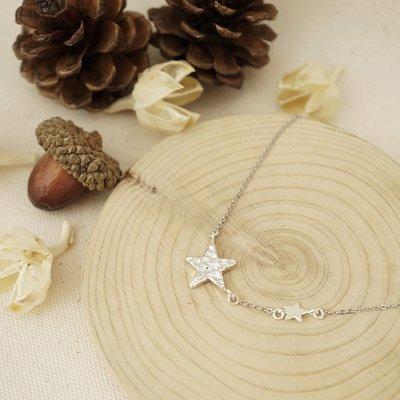 [ Cami Handicraft ]冬季的聖誕祝福流星短鏈 - 純銀款 特殊紋路設計造型簡約 適合喜愛獨特風格的妳