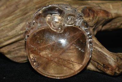 本物天然水晶  金糸髮晶  陽起石  細密彫  神獸貔貅  聚財闢邪  平安吊墜