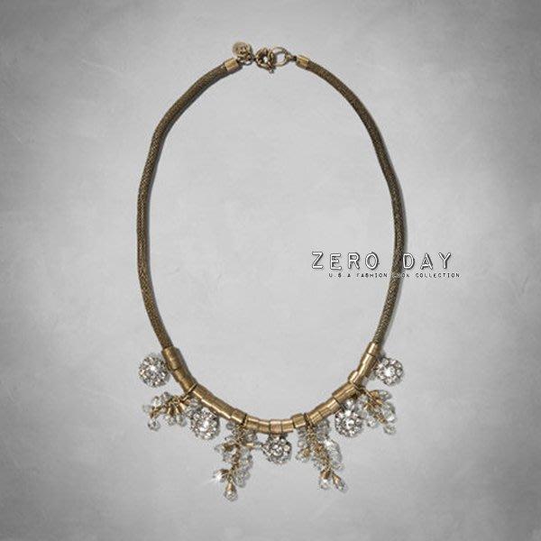 A&F Abercrombie&Fitch Vintage Statement Necklace超美水鑽寶石古銅金短項鍊
