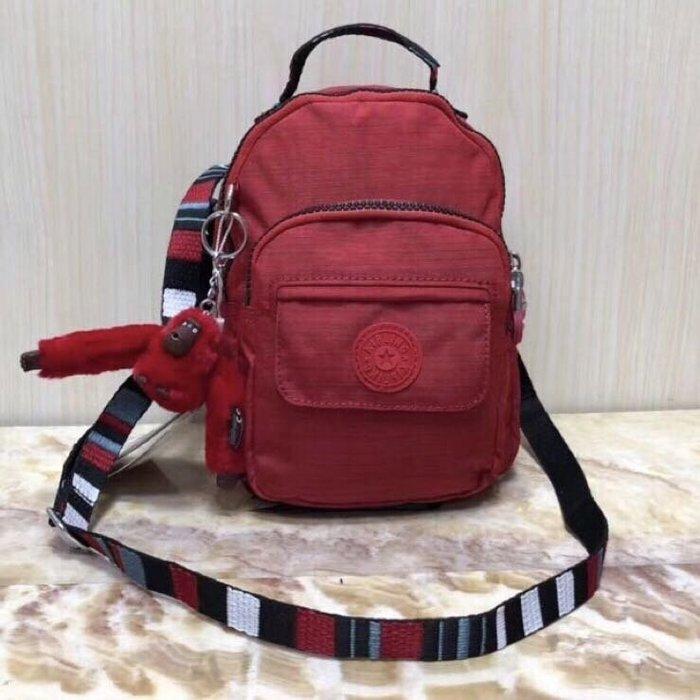 Kipling 猴子包 mini HB7349 亞麻紅拼色 彩色背帶 多用款肩背 斜背 側背 輕量雙肩後背包 小號 防水 限時優惠