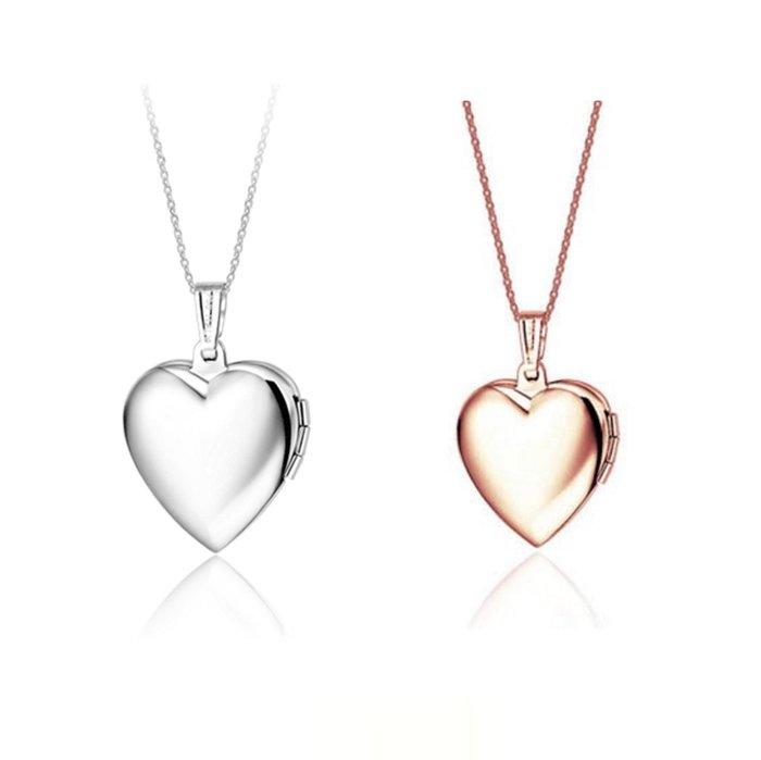 鈦鋼鍍玫瑰金白金心型相框金銀二色放照片項鍊鍊飾品防過敏禮品吊墜 精品 女性飾品 配件禮盒