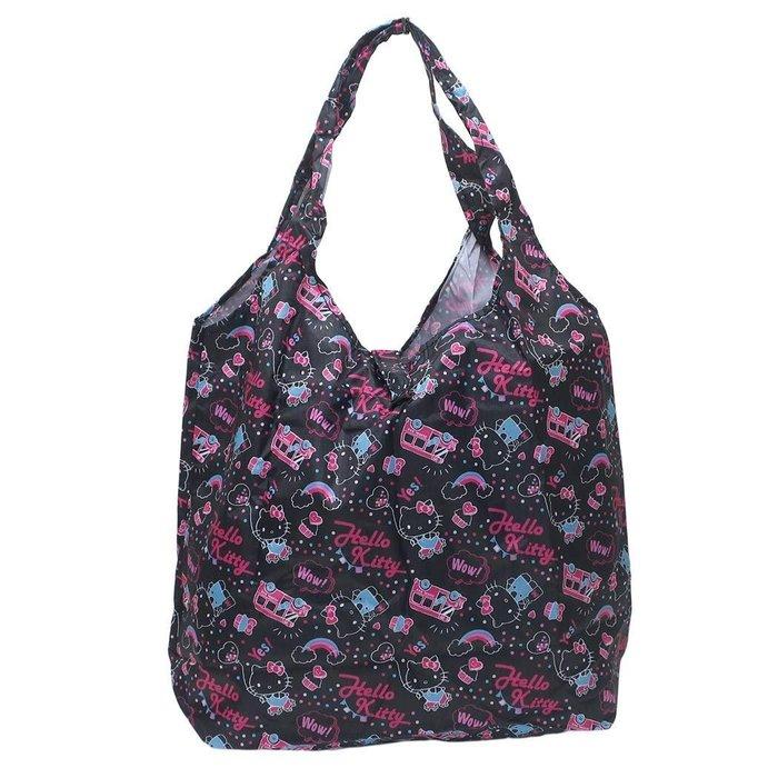 HELLO KITTY環保購物袋 防潑水手提袋 kitty滿版黑色 日本正版~彤小皮的遊go世界