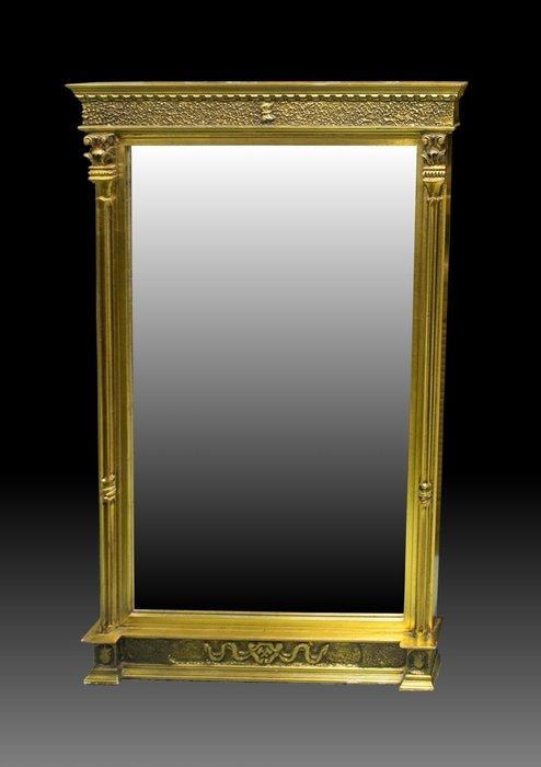 【家與收藏】賠售特價極品稀有珍藏歐洲古董英國攝政時期風格華麗精緻手工木雕花金箔玄關桌鏡/掛鏡