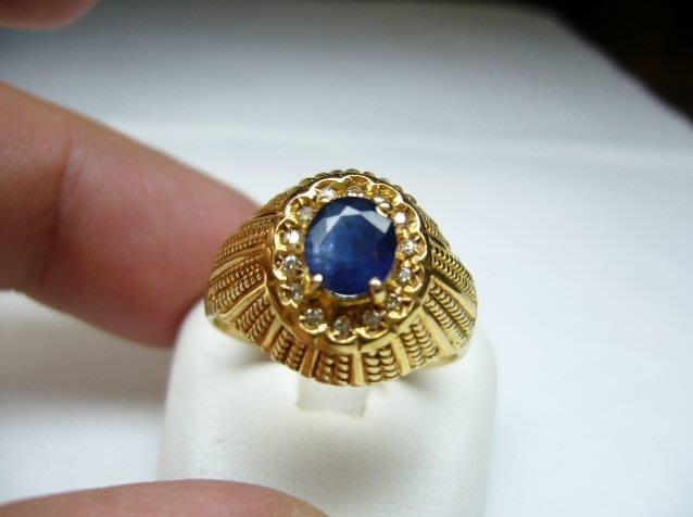 [吉宏精品交流中心]1.08克拉 天然藍寶石 天然鑽石 黃K金 造型 戒指