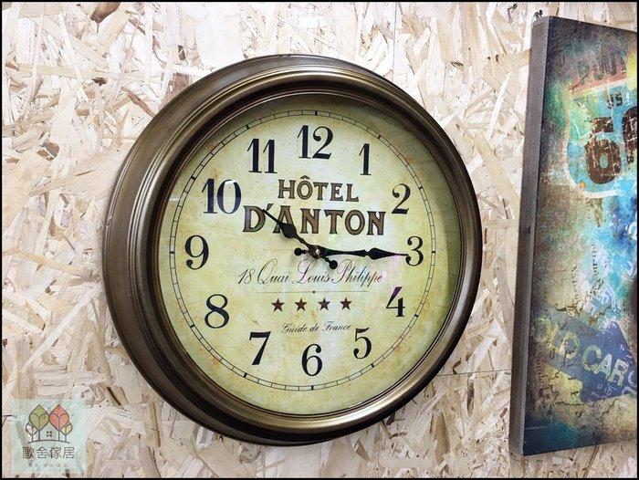 美式鄉村風 仿古金框英文字母圓形時鐘 直徑47公分星星掛鐘圓鐘 金屬鐵藝刷舊壁鐘 大鐘面造型鐘【歐舍傢居】
