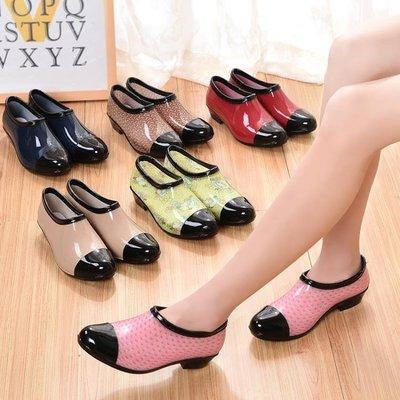 鞋女時尚潮流低筒水鞋淺口短筒雨靴膠鞋防滑水靴懶人套鞋   全館免運