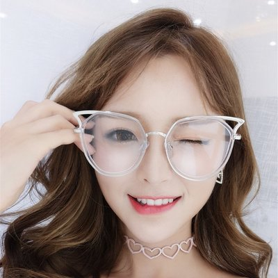 韓版可愛小清新貓耳大框平光鏡女網紅時尚百搭素顏框架眼鏡潮【森點嚴選】