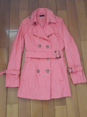 benetton 粉橘色 風衣 外套