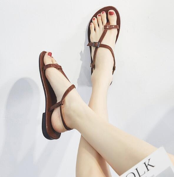 韓國 夏季涼鞋 韓版百搭學生網紅沙灘鞋 平底夾趾羅馬涼鞋—莎芭