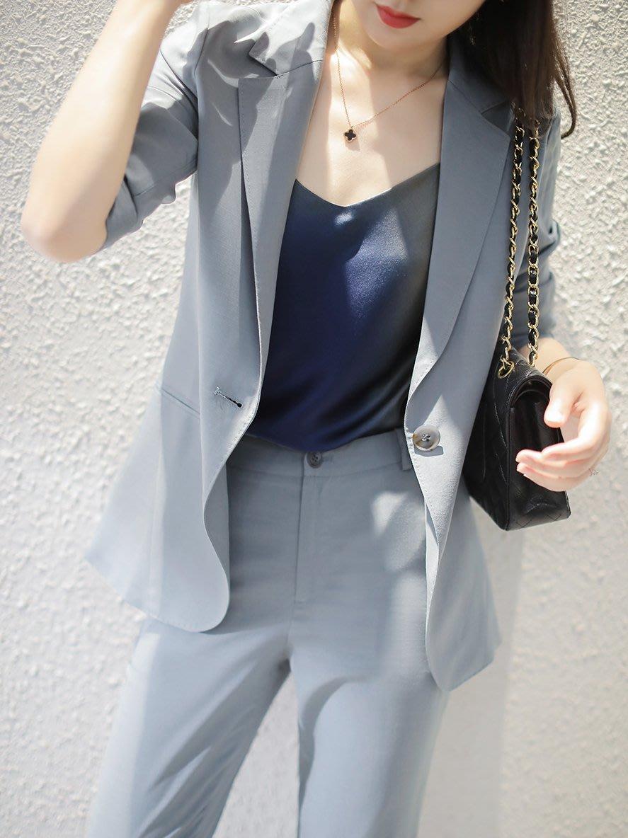 ~貓老大~月灰藍調 日式立体剪裁一粒扣之薄款西服外套 /  7.2