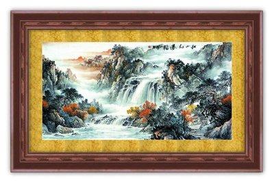 四方名畫:山水畫48X65CM 111 C中尺寸 名家水墨畫 聚財圖 複製油畫  畫質色彩細緻 裝飾畫MIT可訂製尺寸
