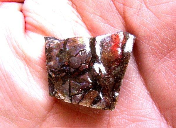 小風鈴~天然高檔七彩斑彩石原礦(重8.4g)又名~發達石.麒麟石.開運石(帶藍光)餓水命