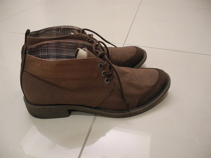 義大利品牌STEFANOROSSI 咖啡色麂皮布面繫帶短靴 us7號/25號 /40號 帥氣繫帶短靴 裸靴