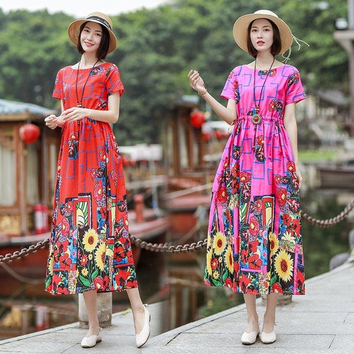 創意夏季女裝 民族風女裝長裙夏季新款大碼印花復古寬松顯瘦棉麻短袖連衣裙