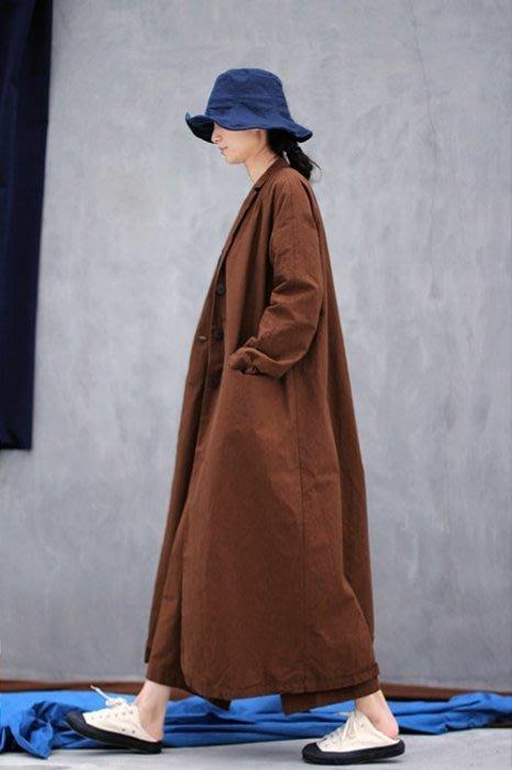 質樸的奢華♥ 秋冬款高密純棉復古卡其色西裝領單排扣連衣裙風衣2149