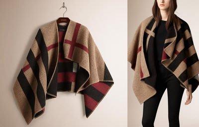 【neverleftla by Olivia】英倫時裝設計 格子風拼色格纹斗篷式披肩外套~羊毛圍巾