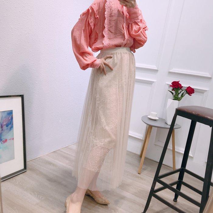 A161 專櫃柔軟網紗拼接鬆緊腰修身顯瘦百褶裙蛋糕裙