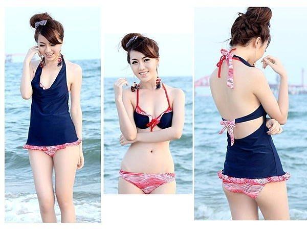 素面條紋風格 海邊戲水 泡湯 比基尼泳衣 三件式泳裝 【GK027】