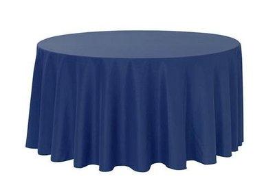 居家家飾設計 桌巾/圓檯布240cm圓 適用90cm/120cm/150cm/180cm圓桌 緞面/深藍 雙針車邊