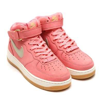 =CodE= NIKE W AIR FORCE 1 MID SEASONAL 麂皮籃球鞋(粉紅白銀)818596-800