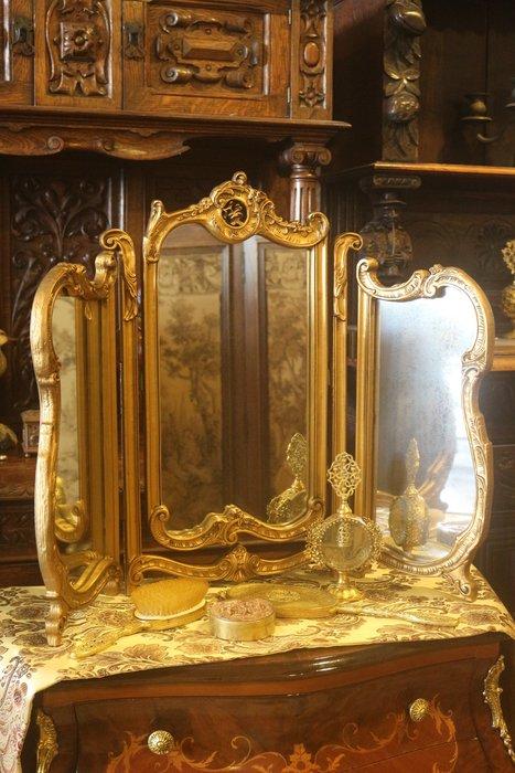 【家與收藏】賠售特價稀有珍藏歐洲古董法國古典華麗精緻巴洛克花卉浮雕三面鏡/桌鏡14