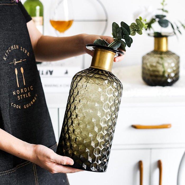 #創意 裝飾品 居家北歐輕奢風錘紋玻璃花瓶臺面插花花器家居裝飾擺件金色頸環平口瓶