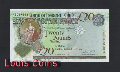 【Louis Coins】B453-NORTHERN IRELAND-2013北愛爾蘭紙幣,20 Pounds