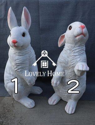 (台中 可愛小舖)田園鄉村風格-波麗製仿真雪白大眼睛兔子站立豎起耳朵波麗娃娃擺飾裝飾可愛兔子愛好者收藏童話動物風格