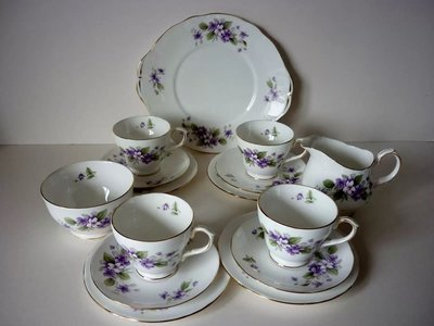 【達那莊園】英國製骨瓷器 Duchess公爵夫人 tivoli宏福(紫羅蘭) 下午茶咖啡 奶盅糖罐組
