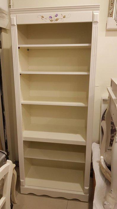 鄉村風書櫃 玫瑰手工彩繪洗白書櫃 彩繪書櫃 展示櫃 開放式書櫃 書架 原木書櫃