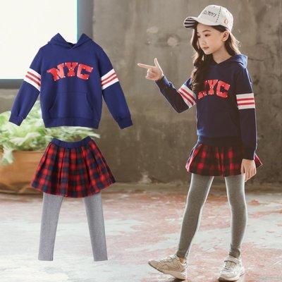 gogo購 中大童連帽長袖運動衣紅格子短裙長褲套裝 現貨!!
