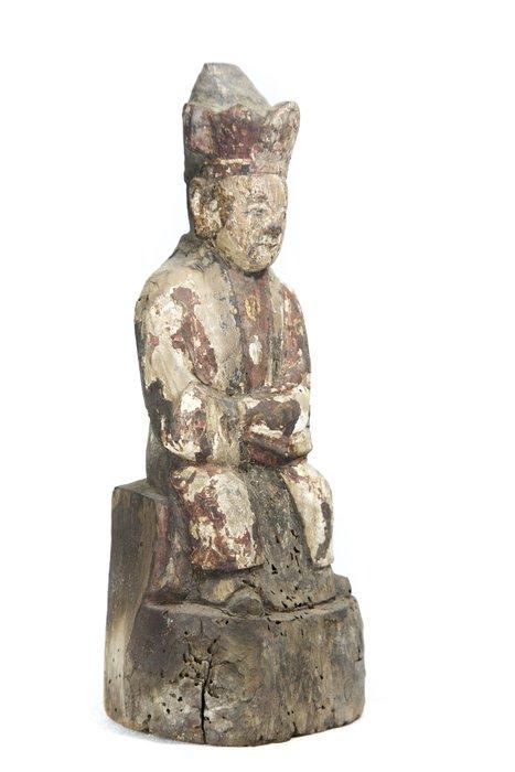 《博古珍藏》清.木胎礦物彩繪文官坐像.高27.3公分.老件文物.法像莊嚴.非黃花梨紫檀香酸枝木金絲楠木.超值回饋