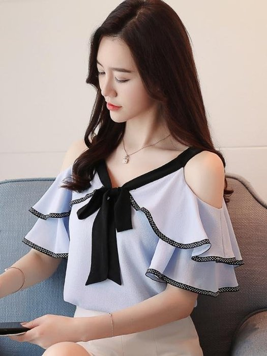 雪紡衫女春夏季新款韓版很仙的上衣露肩短袖洋氣遮肚子一字肩吊帶