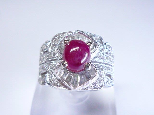 【連漢精品交流中心】《天然紅寶石 1.95CT 》14白K金設計款奢華 紅寶石鑽戒 (女戒)~ 58168