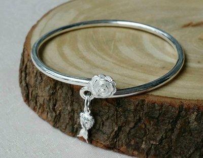 嗨,寶貝銀飾珠寶* 925純銀☆990純銀 時尚 玫瑰 金魚吊墜 實心 開口純銀手環 手鐲
