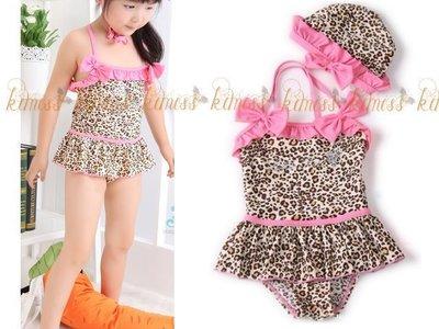 可愛女童豹紋連身衣泳衣 二件套 泡湯溫...