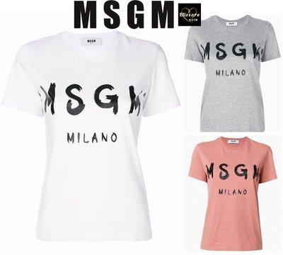 EUstore現貨►MSGM義大利製經典logo字母短袖T恤(白色/灰色/膚粉色)女生大人XS S M L XL歐美代購