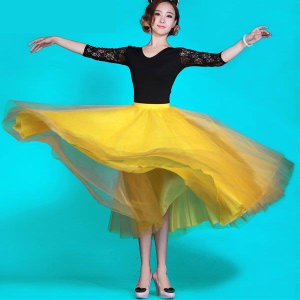 5Cgo【鴿樓】會員有優惠 37843420285 摩登舞裙 國標舞表演服裝演出服 蓬蓬紗半身長裙舞裙 交誼舞裙
