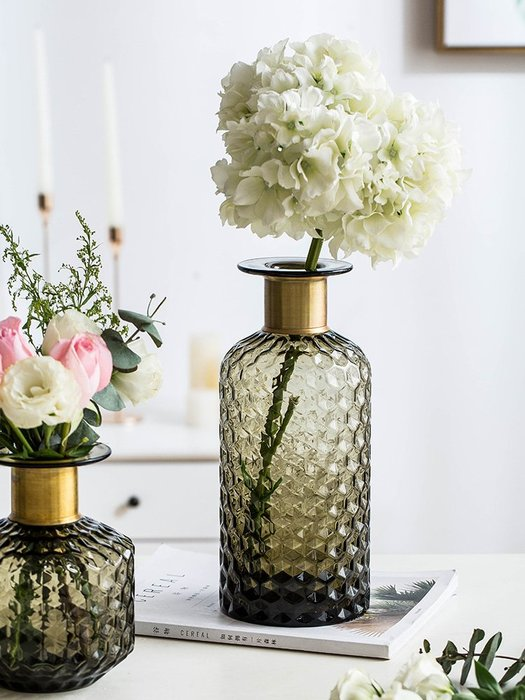 #創意 裝飾品 居家摩登主婦北歐輕奢風銅口玻璃花瓶家插花花器樣板房居家裝飾品擺件