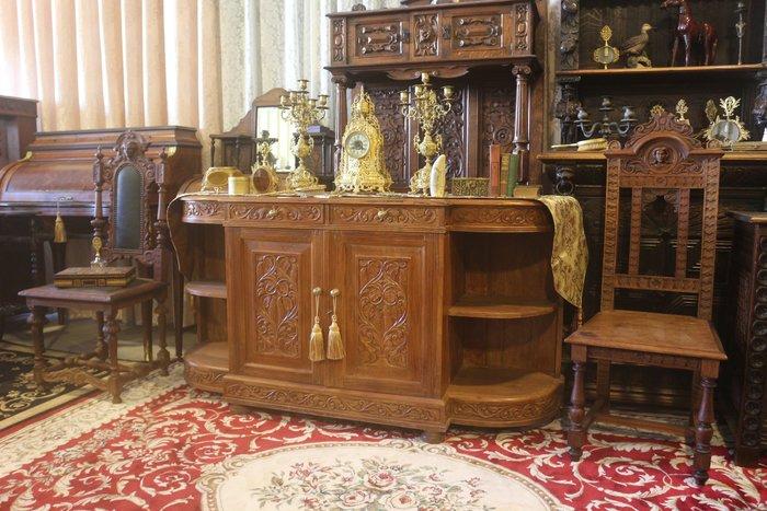 【家與收藏】超值賠售特價稀有珍藏歐洲百年古董法國19世紀古典精緻手工雕刻花卉邊櫃/置物櫃