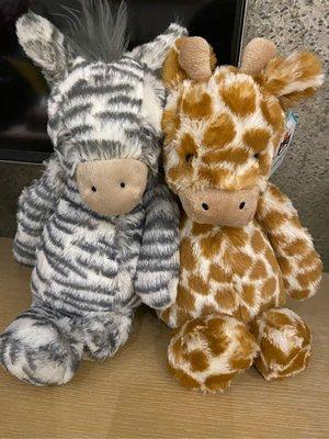 (現貨)(斑馬與長頸鹿綑綁組 )Jellycat Bashful Zebra and giraffe soft toy